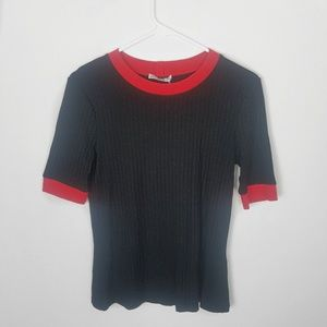 NWT Zara Collection ShortmSleeve Knit Top Red Tri.